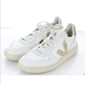 Veja White and Gold Sneakers